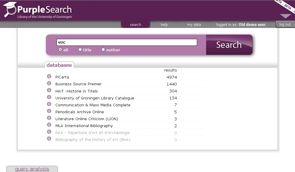 "Search ""voc"" in PurpleSearch"