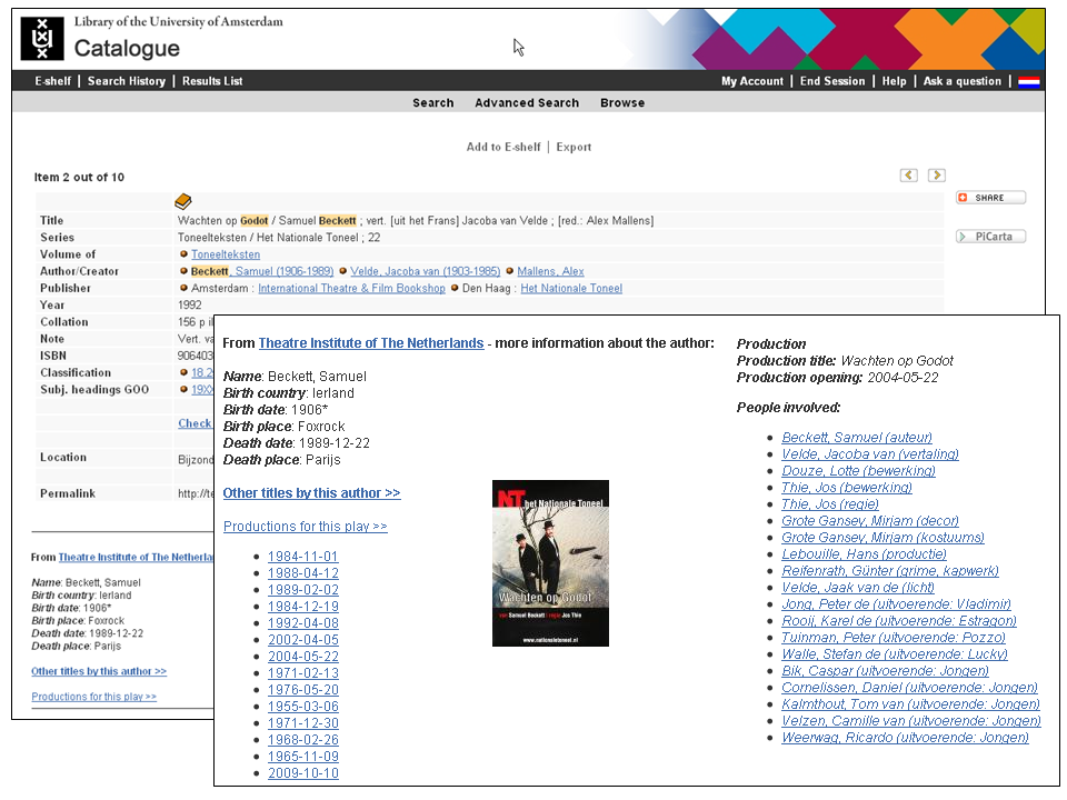 Example theatre linked data pilot: Waiting for Godot
